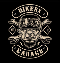 black and white design of biker patch with the vector image