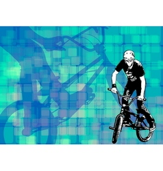 bmx on the abstract background vector image