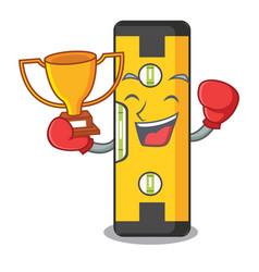 Boxing winner spirit level in a cartoon bag vector