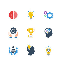 Brain brainstorming idea filled icon set vector