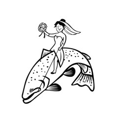 bride female fisherman with flower bouquet riding vector image