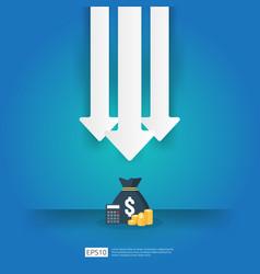Business crisis concept money fall down vector