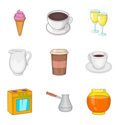 business lunch icons set cartoon style vector image