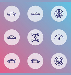 Car icons line style set with steering wheel vector