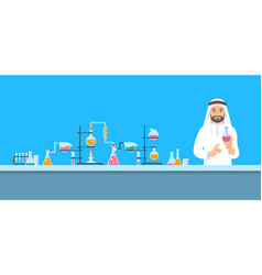 Chemist in chemical laboratory background vector