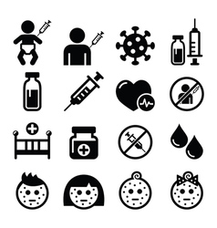 Childhood vaccinations chicken pox icon set vector