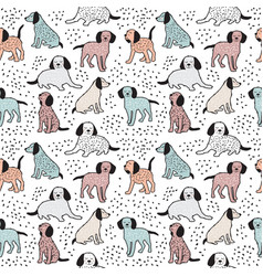 Childish seamless pattern with dogs cute baby vector