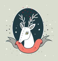 christmas deer new year holiday greeting card vector image