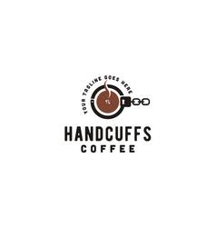 coffee handcuffs mafia crime cafe logo vector image