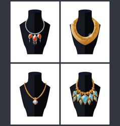 Collection of jewelry necklaces precious stones vector