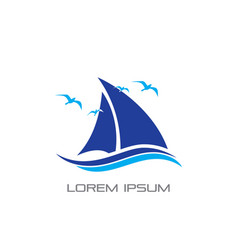 cruise ship wave bird logo vector image