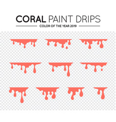 Current paint stains coral color paint dripping vector