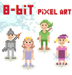 Cute 8-bit pixel character set of casual people vector