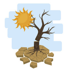 Dead tree and sun vector