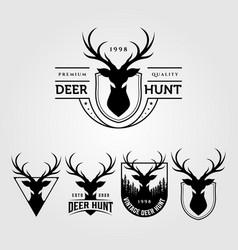 deer hunt vintage logo set designs vector image