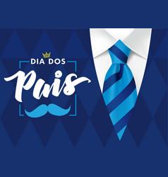 Dia dos pais mens rhombus suit and blue tie vector