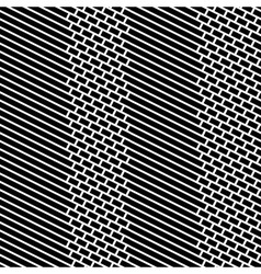 Diagonal bricks and stripes black white seamless vector