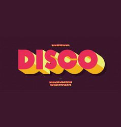disco font 3d bold style trendy typography vector image
