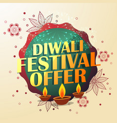 Diwali festival offer with beautiful decoration vector