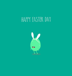 easter egg funny and green for happy easter card vector image