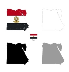 Egypt country black silhouette and with flag on vector