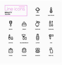 Fashion concept beauty - line design icons set vector