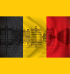 flag of belgium with brussels skyline vector image