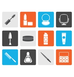Flat cosmetic and make up icons vector