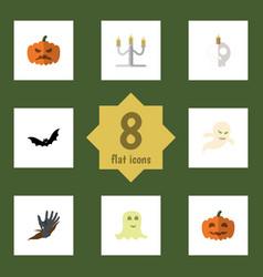 Flat icon celebrate set cranium spirit zombie vector