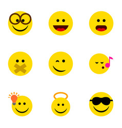 Flat icon emoji set of descant hush laugh and vector