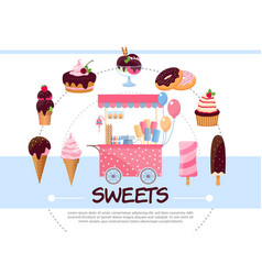 Flat sweets round concept vector