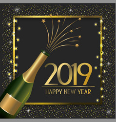 Frame with champagne bottle to celebrate new year vector