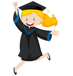 Girl in black graduation gown vector image