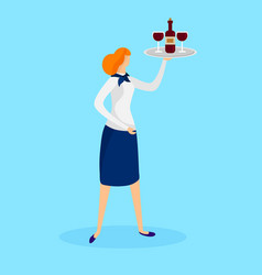 Girl waitress holding tray with bottle and glasses vector
