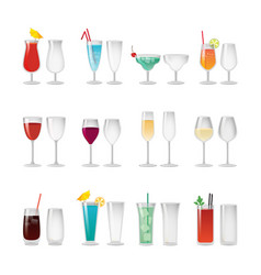 Glasses with wine and cocktails set vector