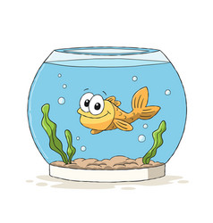 Goldfish in glass vector