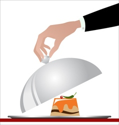Gourmet cuisine on a silver plate vector