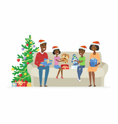 Happy african family open christmas presents vector