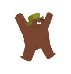 happy humanized male bear character wearing vector image