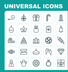 Happy icons set collection of toboggan present vector