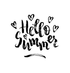 hello summer brush lettering vector image