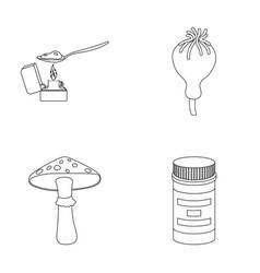 Heroin in a spoon mushroom galyutsinogenny opium vector