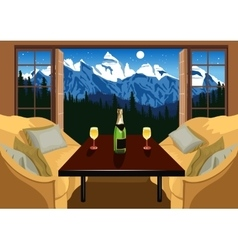 Interior of a hotel room in ski resort vector image