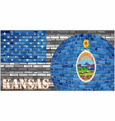 Kansas flag on the grey usa flag background vector