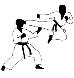 Karate Sport jump kick vector