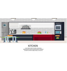 kitchen interior design composition vector image