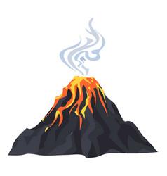 Lava eruption volcano icon cartoon style vector