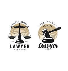 Law office attorney lawyer logo or label scales vector