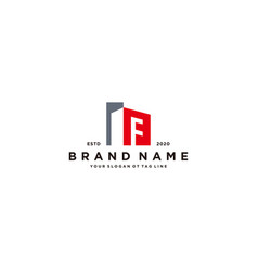 Letter f and building logo design vector