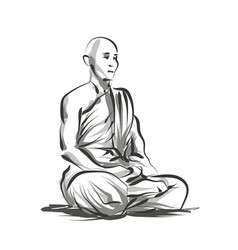 Line sketch meditating monk vector